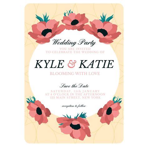 hand drawn colorful wedding invitation template vector