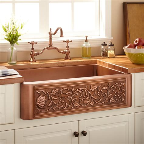 vine design copper farmhouse sink kitchen