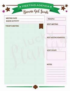 Printable Brownie Girl Scout Meeting Agenda