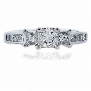 14kt white gold princess cut three stone diamond With wedding band for 3 stone princess cut engagement ring