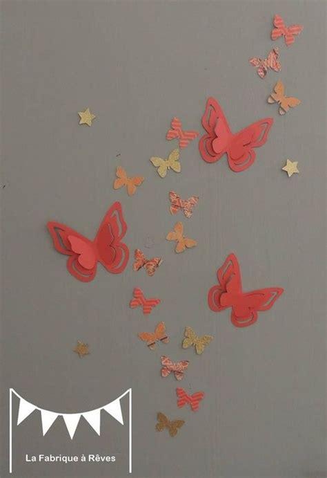 stickers chambre fille 25 stickers papillons corail abricot pêche gris et doré