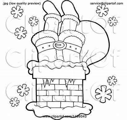 Legs Santas Chimney Clipart Royalty Illustration Vector