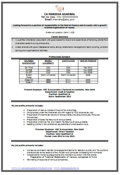 Resume Format For An Accountant by Best Chartered Accountant Cv Page 1 Career