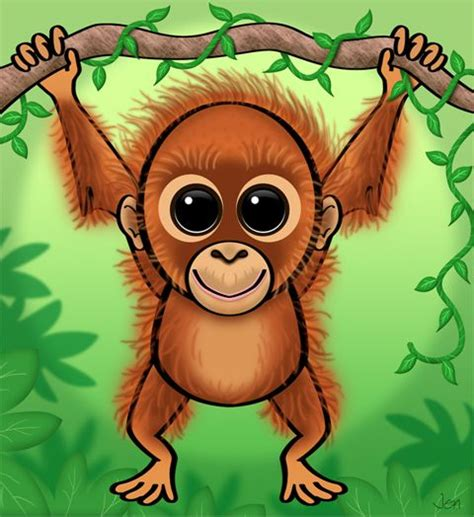 cute cartoon baby orangutan rainforest animals