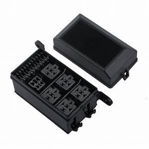 Auto Car Fuse Box 6 Relay Block Holder 5 Road Relay Socket
