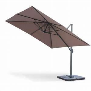 Parasol Déporté Carré : parasol d port carr 3x3m haut de gamme excentr inclinable rotatif 360 taupe ~ Mglfilm.com Idées de Décoration