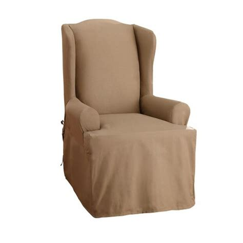 Sure Fit Wing Chair Slipcovers by Sure Fit Cotton Duck Wing Chair Slipcover Ebay