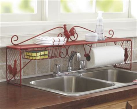 Red Over The Sink Shelf by Rooster Over The Sink Shelf From Seventh Avenue 717252