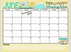 June 2016 Calendar Let's have some summer fun! inkhappi