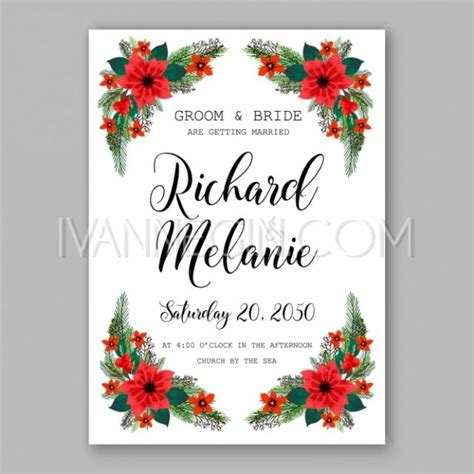 Poinsettia Wedding Invitation Sample Card Beautiful Winter