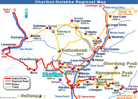 RAOnline Nepal: Nepal Maps - Charikot - Dolakha regional maps