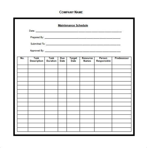 vehicle maintenance schedule template excel printable