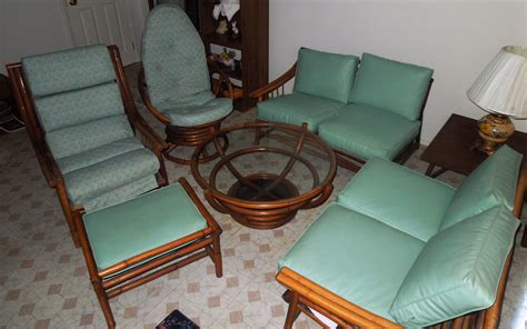 1960s vintage bamboo vinyl retro living room furniture