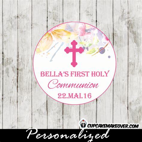 watercolor floral  communion favor tags personalized