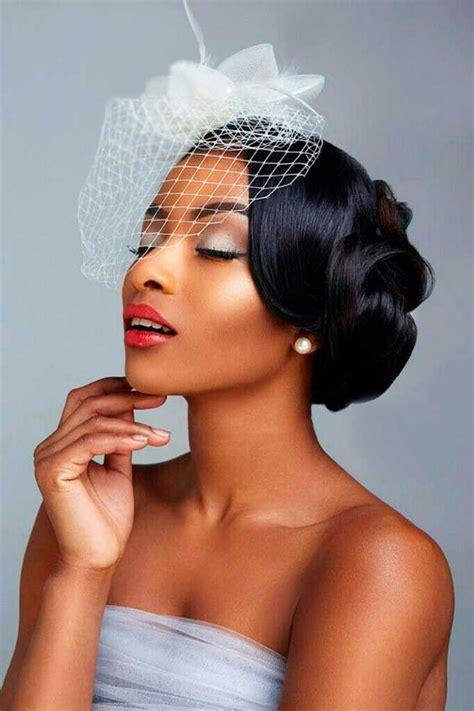 wedding hairstyles  black women smooth   veil