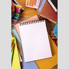 Student Desk With Blank Writing Book Photo  Free Download