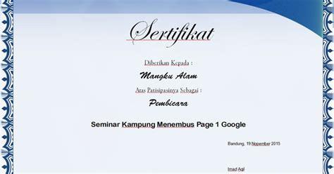 membuat sertifikat  excel tips excel