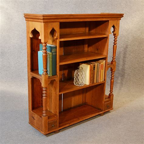 Antique Pine Bookcase Victorian Original Pitch Pine