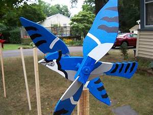 Handmade Wooden Blue Jay Bird shaped whirligigs for your yard