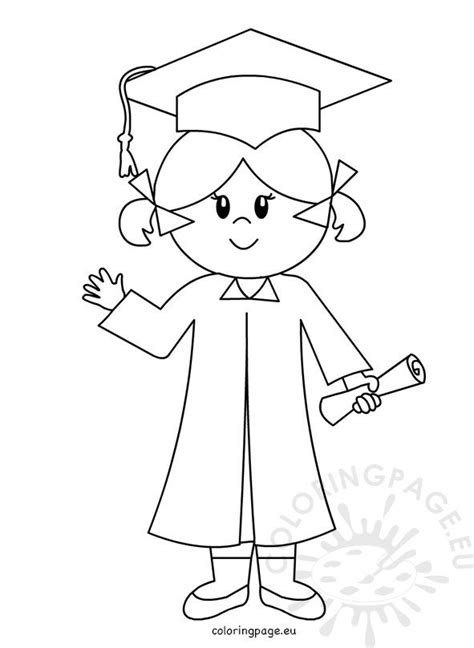 happy graduate girl  drawing coloring page