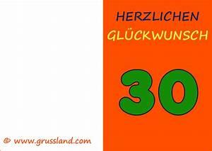 30 Dinge Zum 30 Geburtstag : herzlichen gl ckwunsch zum 30 geburtstag grusskarten zum ausdrucken ~ Markanthonyermac.com Haus und Dekorationen