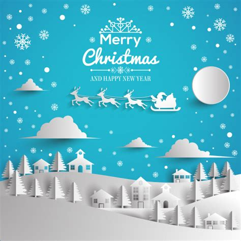 merry christmas and happy new year greeting card paper style vector premium download