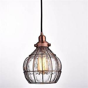 Yobo lighting vintage cracked glass rustic wire ceiling