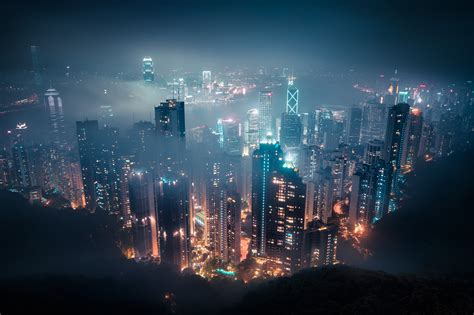 cityscape mist night hong kong wallpapers hd desktop