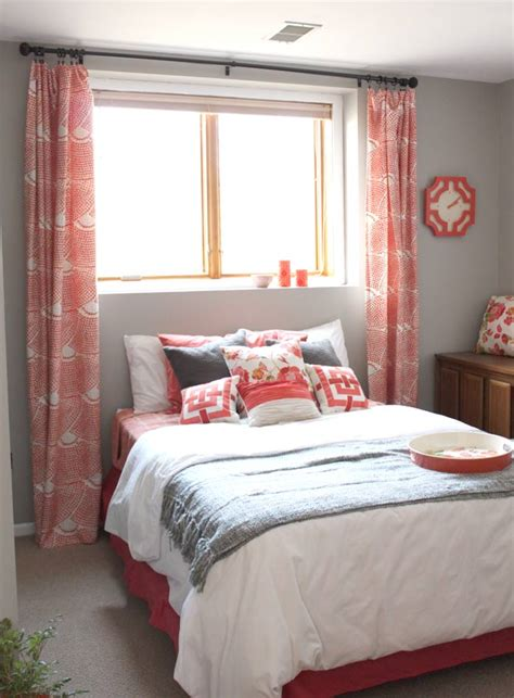 coral and grey curtains coral lovin guest bedroom progress drew