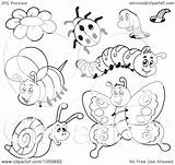 Coloring Insects Collage Outlines Clip Bug Digital Illustration Clipart Royalty Potato Pages Visekart Vector Template Background sketch template