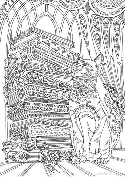 cat  books printable adult coloring page  favoreads