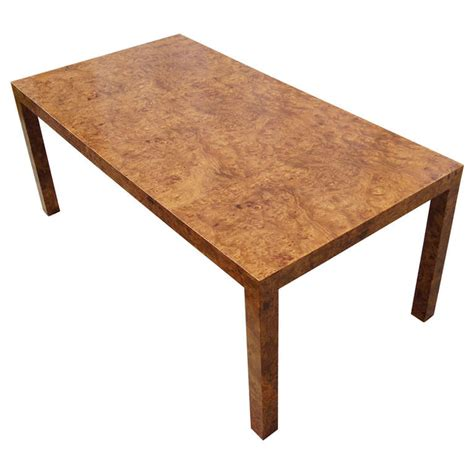 Custom Walnut Burlwood Parsons Coffee Table For Sale At