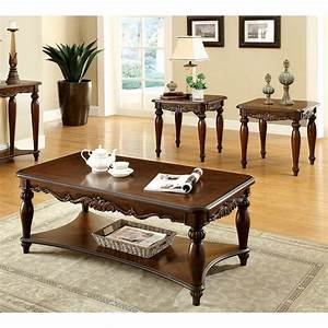 furniture of america 39macelli39 3 piece cherry finished With cherry finish coffee table sets