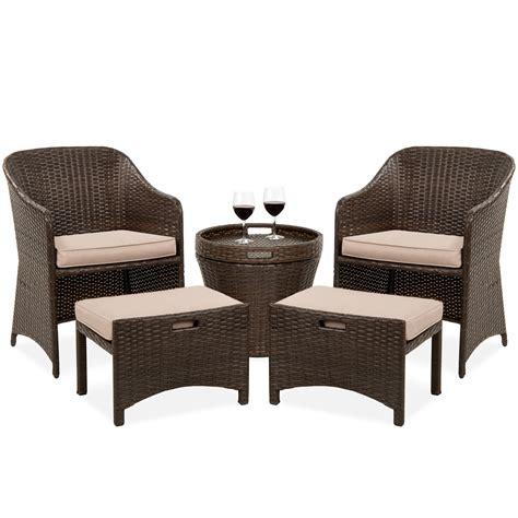 One chair leg needs repair. Best Choice Products 5-Piece Outdoor Wicker Patio Bistro Space Saving Furniture Set w/Storage ...