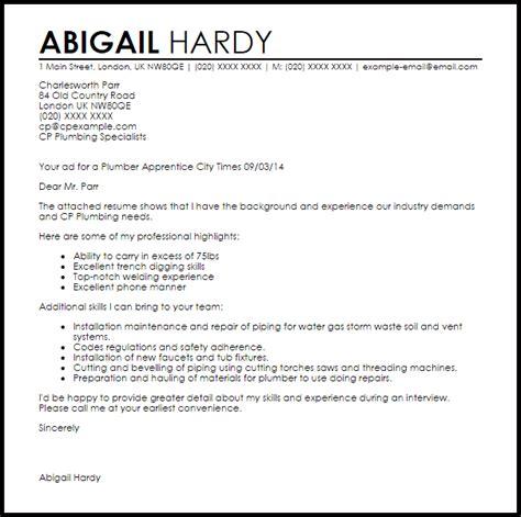 Apprentice Resume Cover Letter by Plumber Apprentice Cover Letter Sle Livecareer