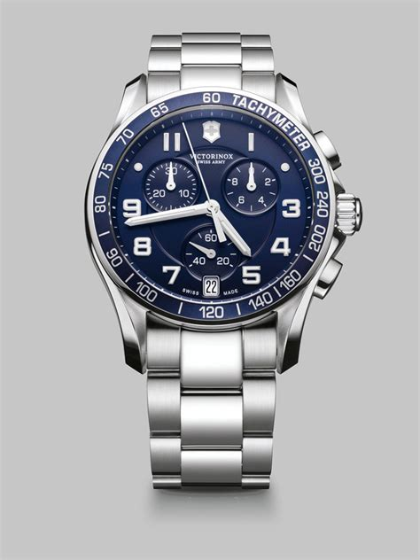 swiss army krono graph stopwatch victorinox chronograph stainless steel in silver for