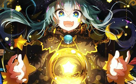 desktop wallpaper witch magic long hair anime girl hd