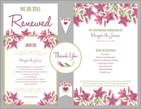 vow renewal invitation suite purple floral design