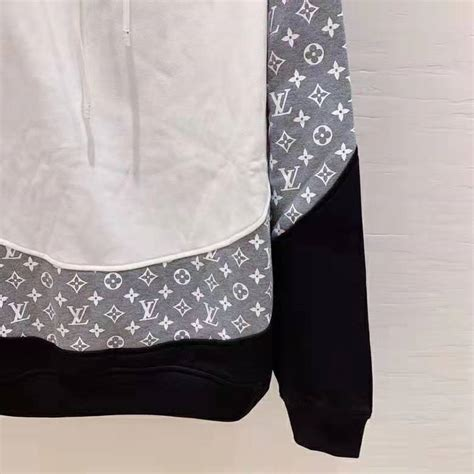 louis vuitton lv men monogram circle cut hoodie   cotton grey lulux