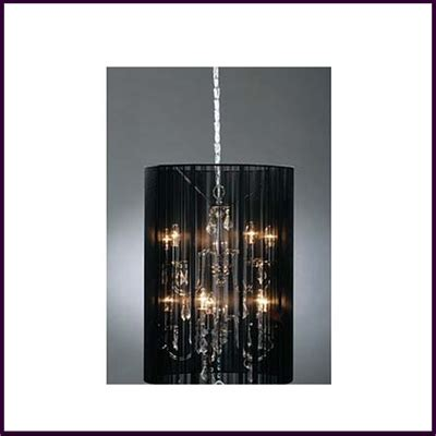 Chandelier With Black Shade And Drops by Chandelier Silver Metal With Clear Drops With Black Ribbon