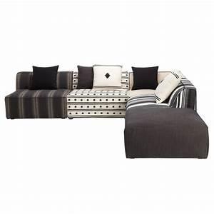 canape d39angle 5 places modulable raye multicolore meknes With tapis ethnique avec housse de canapé d angle 5 places