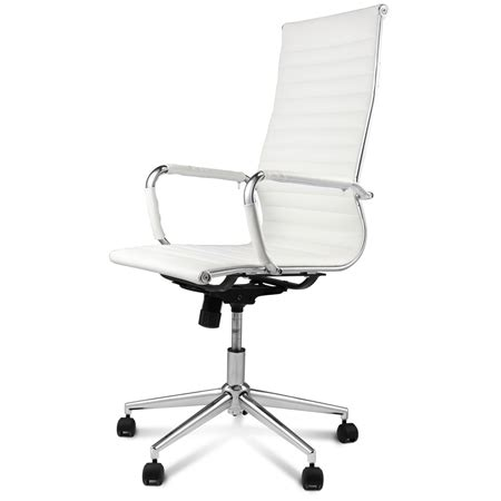 high back white replica pu leather eames office chair