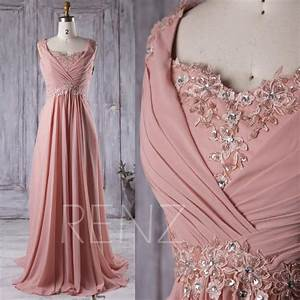 2016 mauve lace neck bridesmaid dress with beading long With mauve wedding dress