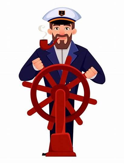 Captain Ship Cartoon Uniform Sailor Vector Illustration
