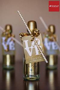 mini champagne bottles with chevron straws cute for With mini champagne wedding favors