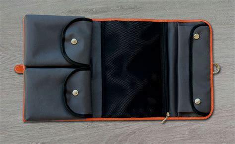 s toilet bag monastic orange leather toilet bag