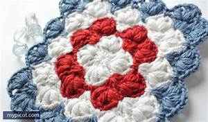 Crochet Puff Stitch Square Blanket Pattern  Diagram   Step By Step Instructions  3 Color Combi