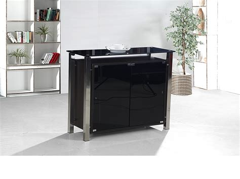Black And Chrome Sideboard by 2 Door Black Glass Cabinet Homegenies