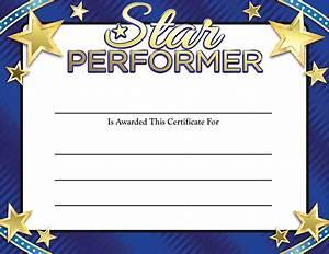 gold foil certificates star performer certificate With star performer certificate templates