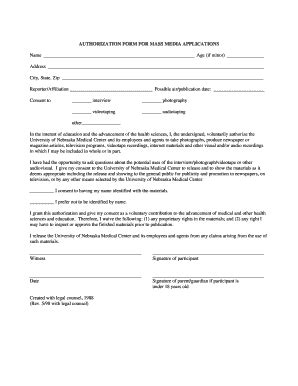 Media Authorization Form by Authorization In Mass Media Fill Online Printable